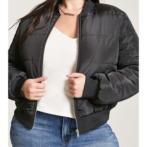 Black Plus Size Puffer/Bomber Jacket